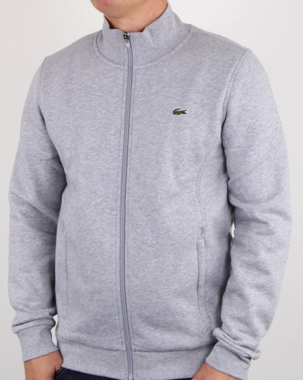 Lacoste Zip Up Track Top Silver Chine
