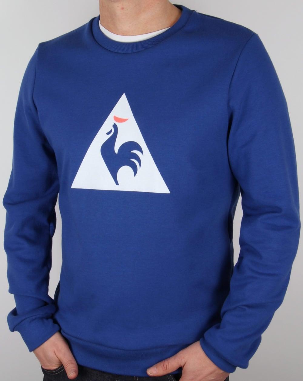 le coq sportif coq logo sweatshirt royal blue jumper sweater knit mens. Black Bedroom Furniture Sets. Home Design Ideas