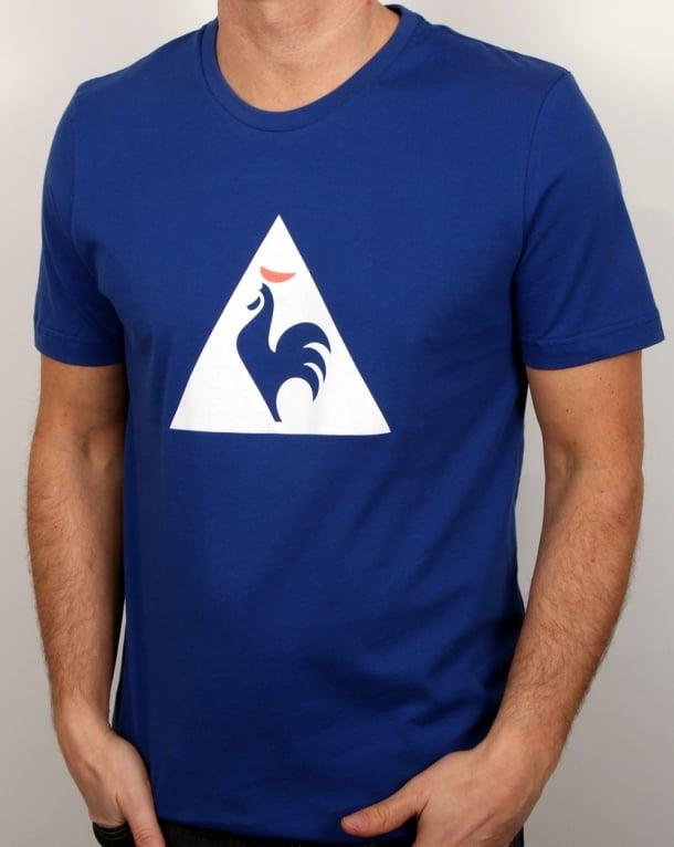 le coq sportif essentiels logo t shirt royal blue men s tee cotton