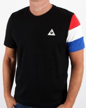Le Coq Sportif Tricolore Sleeve T Shirt Black