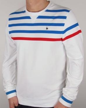 Le Coq Sportif Tricolore Striped Sweatshirt White