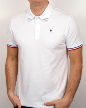 Le Coq Sportif Tricolore Tipped Polo Shirt White