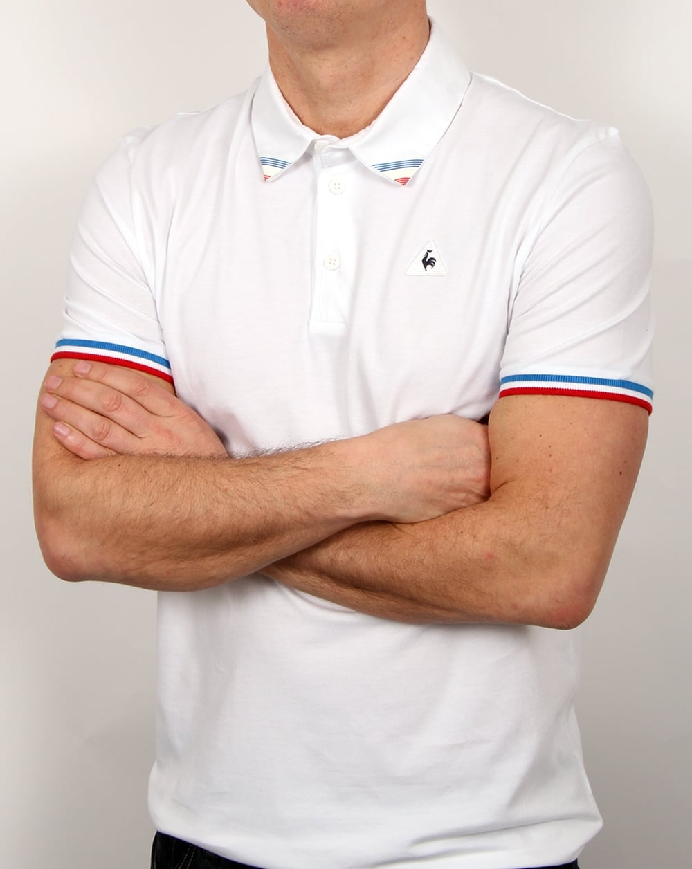 92da2af7dd Le Coq Sportif Le Coq Sportif Tricolore Tipped Polo Shirt White