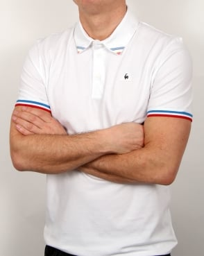 Le Coq Sportif Tricolore Tipped Polo Shirt White