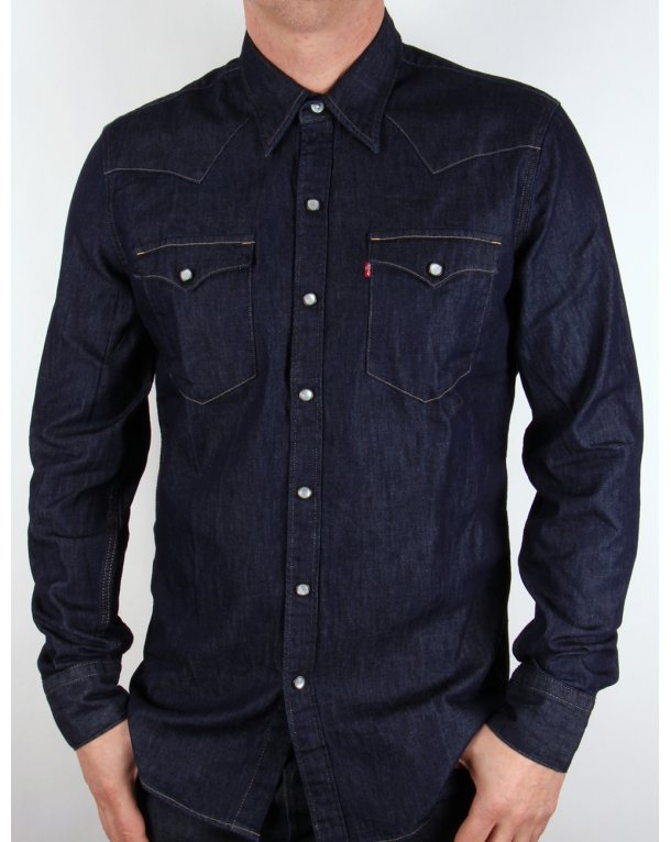 Levis Barstow Western Shirt Dark Denim