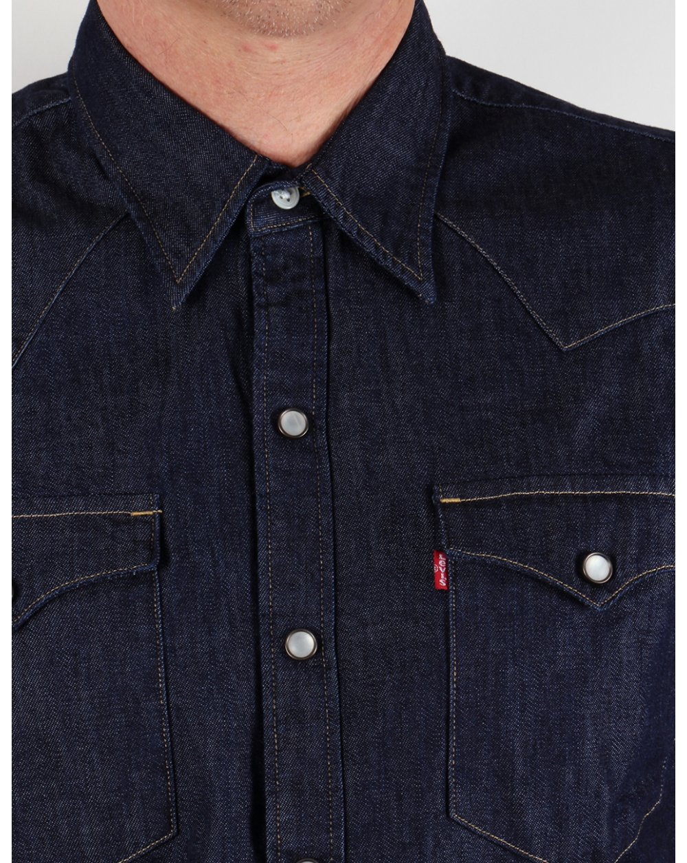 Levis Barstow Western Shirt Dark Denim Mens