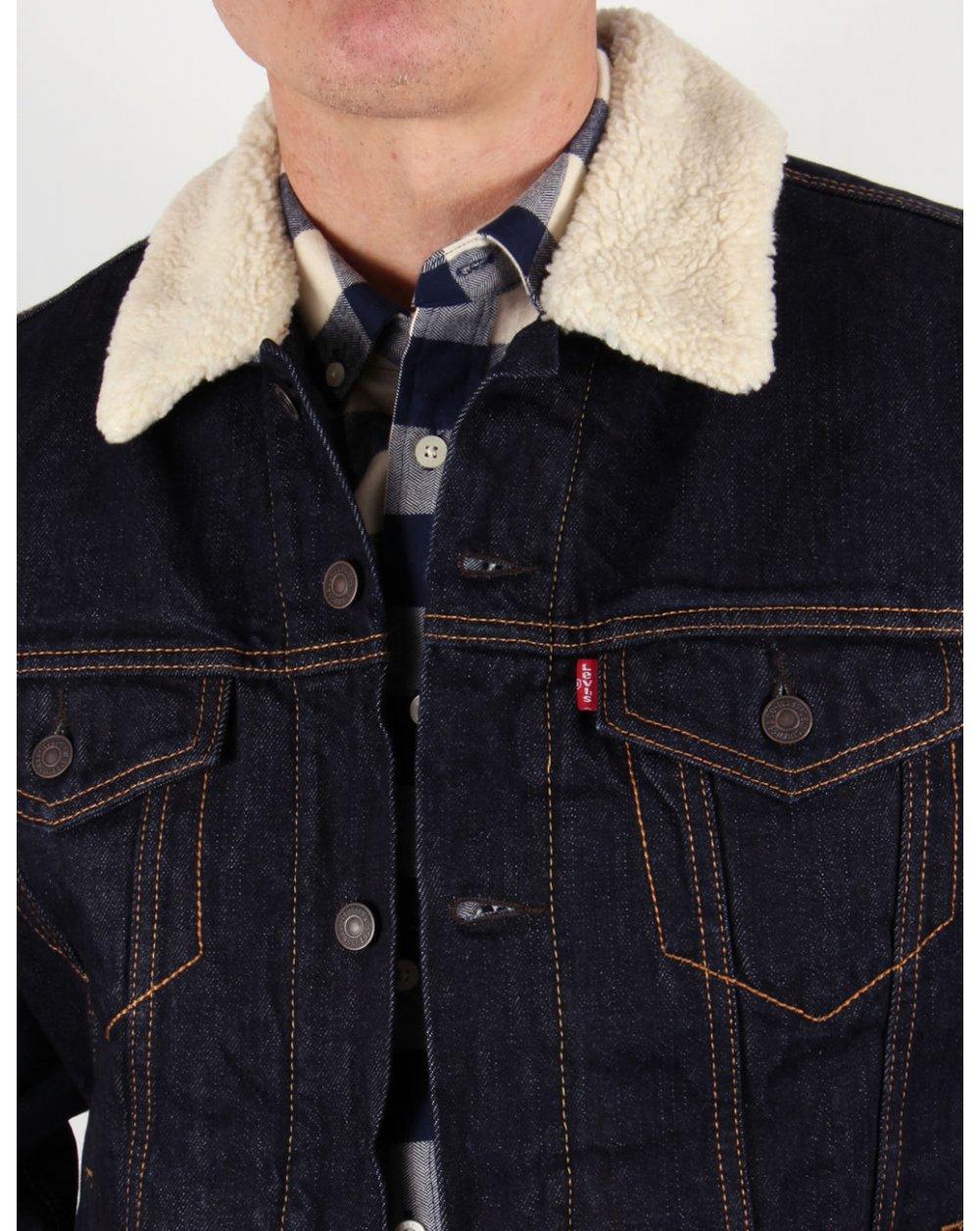 levis sherpa trucker jacket dark denim mens jeans coat. Black Bedroom Furniture Sets. Home Design Ideas