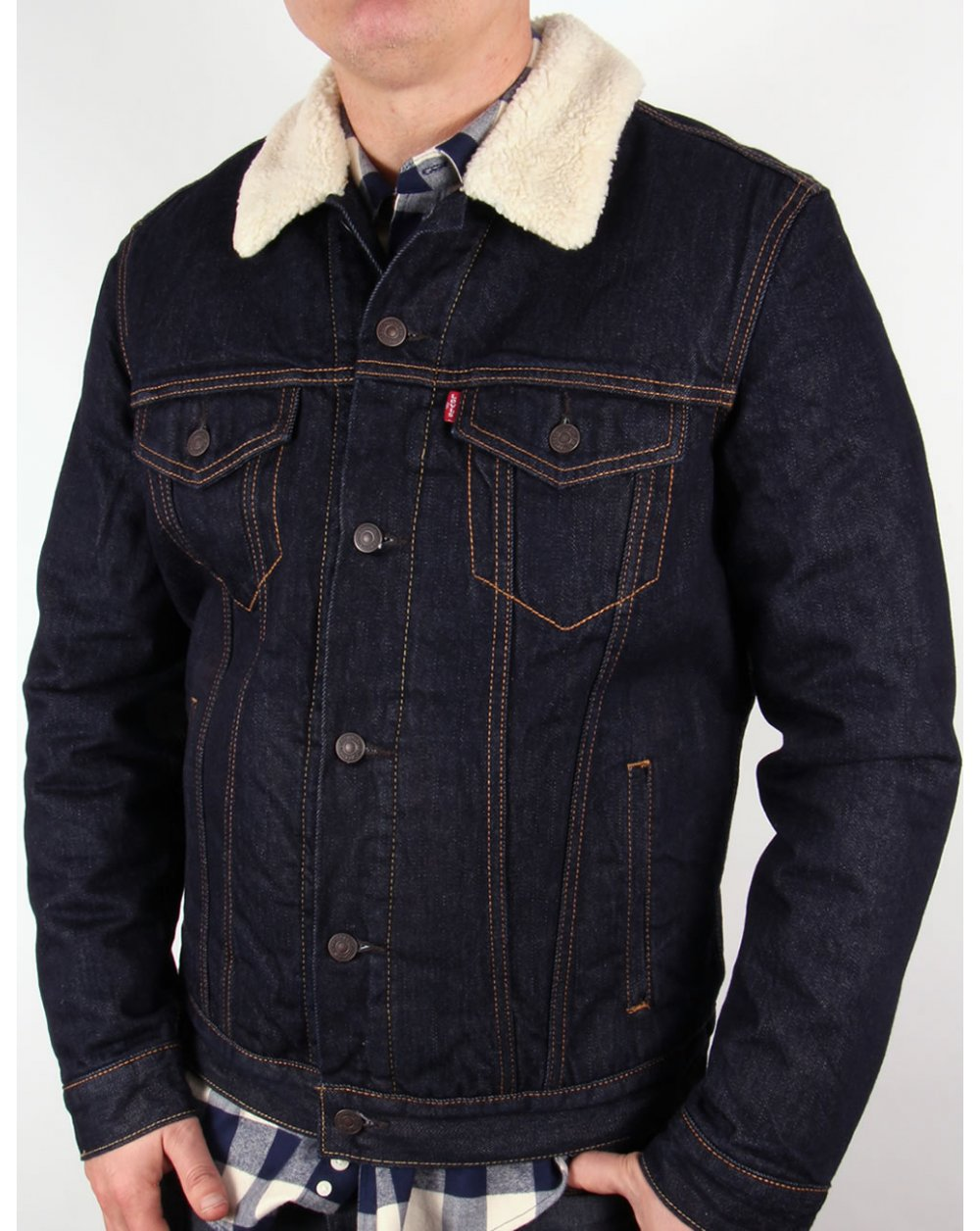Levis Sherpa Trucker Jacket Dark Denim,mens,jeans,coat
