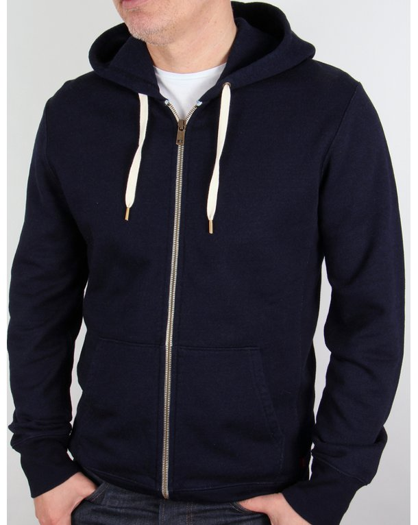 Levis Original Zip Up Hoody Navy Blue