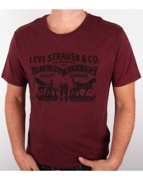 Levi's Levis Strauss & Co Logo T Shirt Burgundy