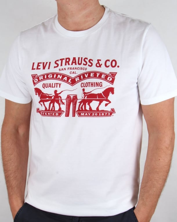 Levis strauss co logo t shirt white red originals tee men for Levis t shirt sale