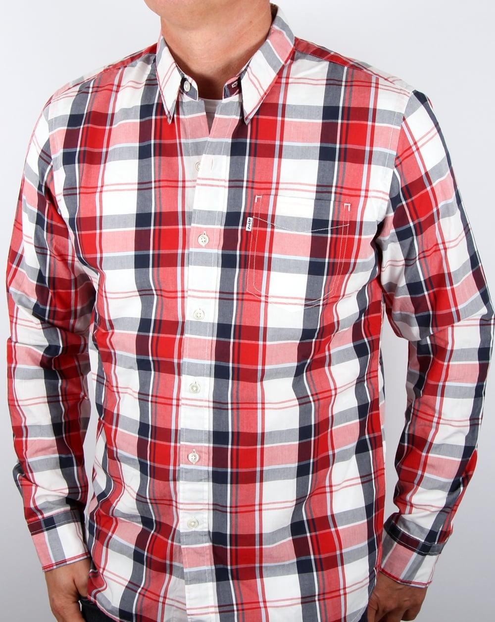Levis Mens Sunset Check Long Sleeve Shirt Enam T One Pocket True Blue 65824 0337 Ceylon Dress Blues