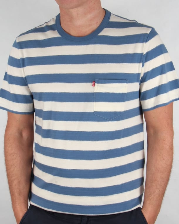 Levis Sunset Pocket Striped T Shirt Blue Chalk Mens Cotton
