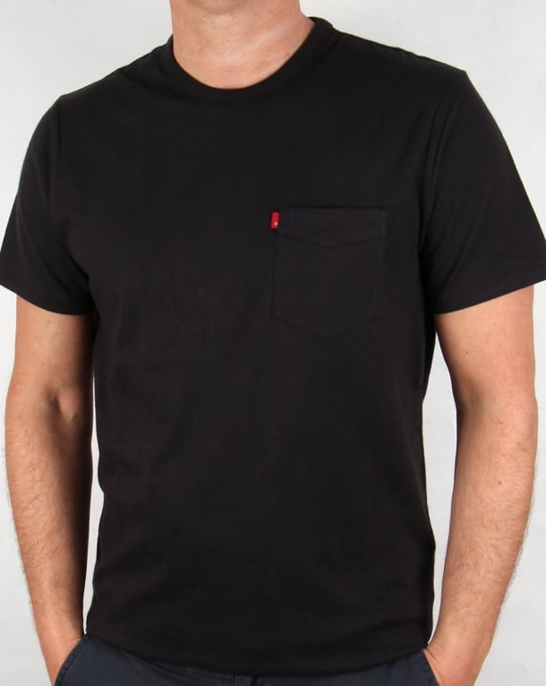 Levis sunset pocket t shirt black originals tee mens for Levis t shirt sale