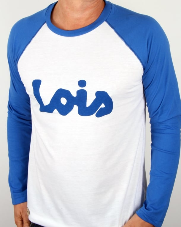 Lois Raglan Logo T Shirt White/blue
