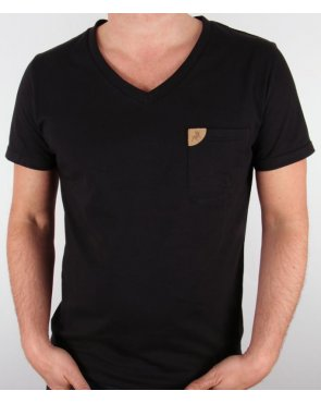 Lois V Neck Pocket T-shirt Black