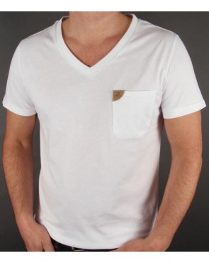 Lois V Neck Pocket T-shirt White