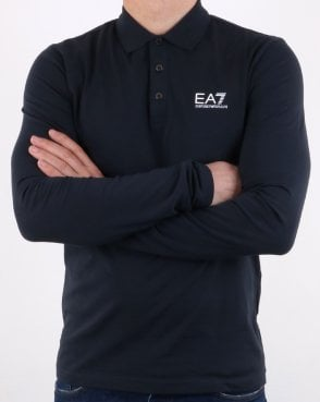 Long Sleeve Smarter Polo Shirt Navy
