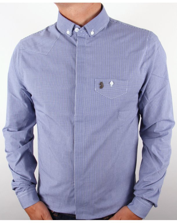 Luke Bailey Gingham Shirt Royal Blue