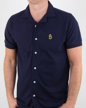 Luke Barratt Cuban Collar Shirt Navy