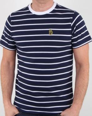Luke Finn Fine Stripe T Shirt Navy