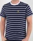 Luke Finn Fine Stripe T Shirt Navy