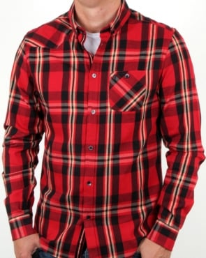 Luke Heyday Patch Pocket Detail Shirt Red Mix Check