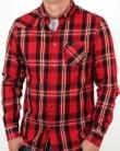 Luke Heyday Patch Pocket Detail Shirt Red Mix Check