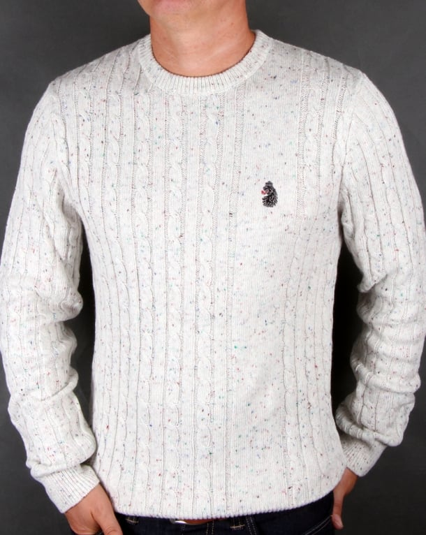 Luke Horton Cable Knit Jumper Antique White Mens Knitwear Cardigan