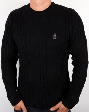 Luke Horton Cable Knit Jumper Black