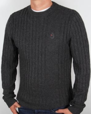 Luke Horton Cable Knit Jumper Charcoal Grey