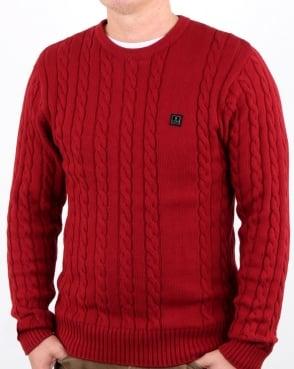 Luke Horton Cable Knit Jumper Cherry