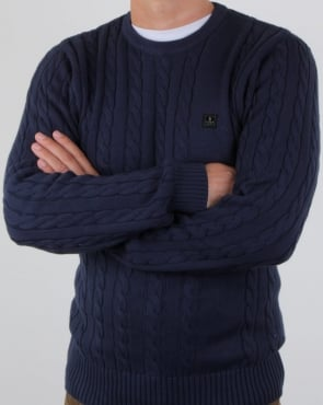 Luke Horton Cable Knit Jumper Dark Navy