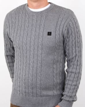 Luke Horton Cable Knit Jumper Grey Marl