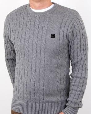 Luke Horton Cable Knit Jumper Grey Marl