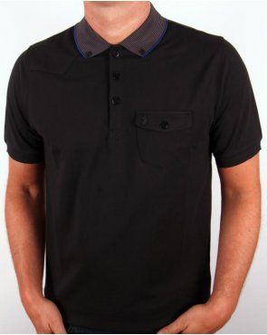 Luke Landbright Striped Collar Polo Shirt Black