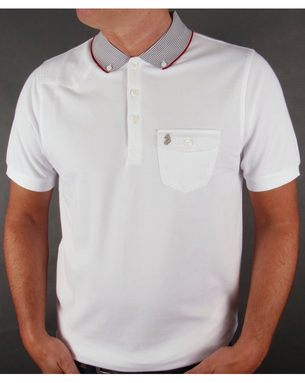 Luke Landbright Striped Collar Polo Shirt White
