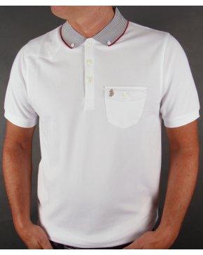 Luke Landbright Striped Collar Polo Shirt White
