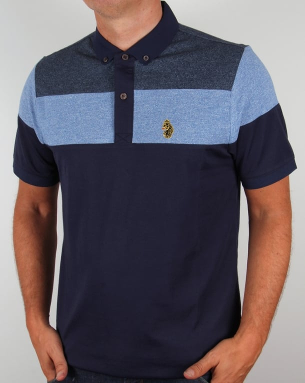 Luke Mickey Spacer Striped Polo Shirt Royal