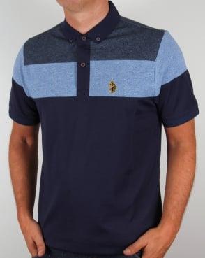Luke Mickey Spacer Striped Polo Shirt Royal