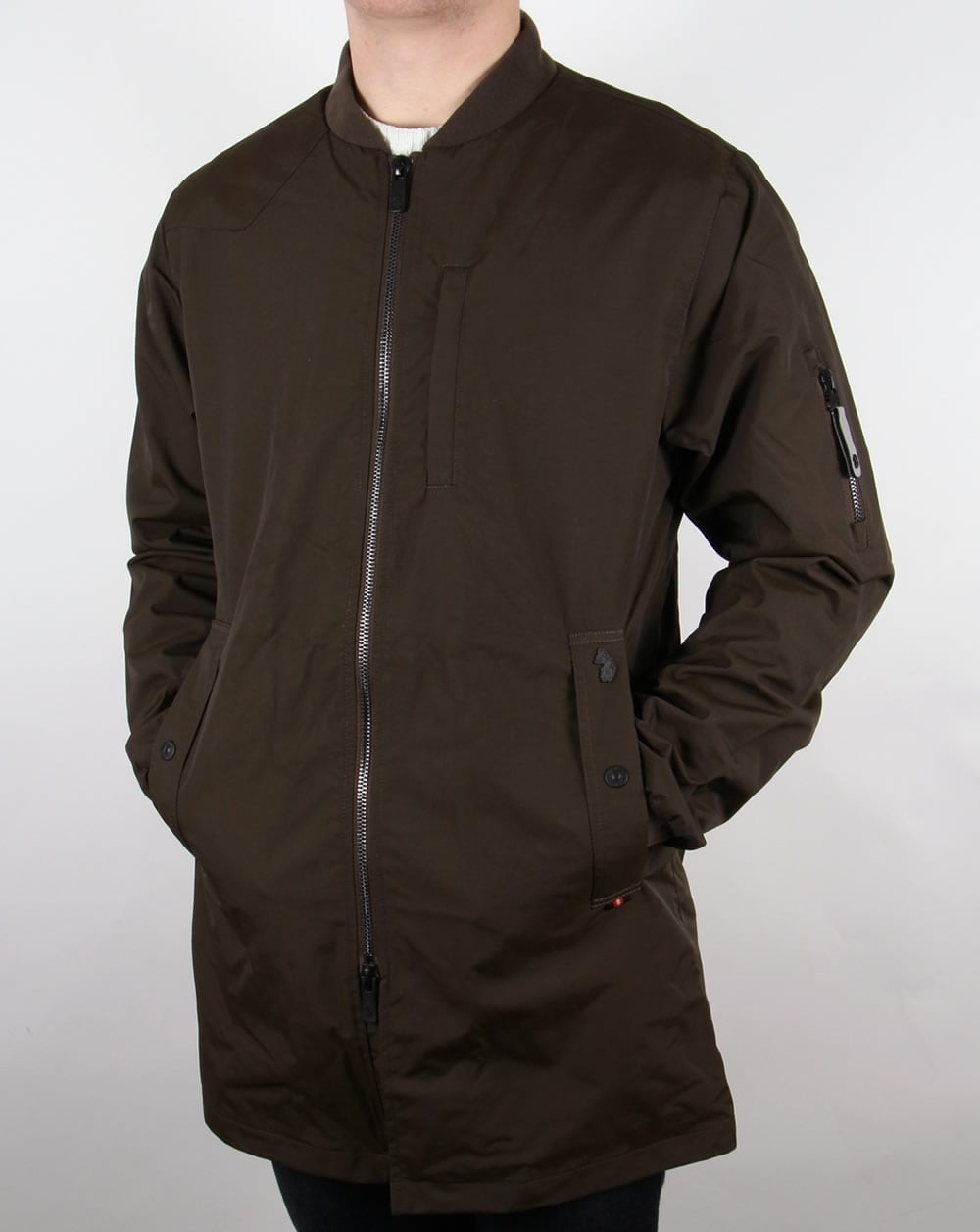 Luke Nation Long Length Jacket Deep Khaki Bomber Coat Mens