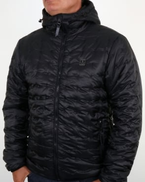 Luke Paddie Spot Quilted Hooded Jacket Black