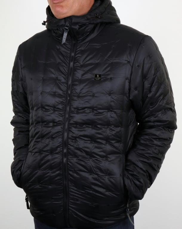 Luke Paddie Spot Quilted Hooded Jacket Black