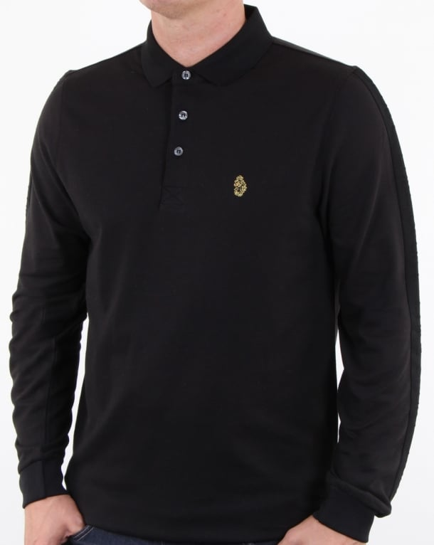 Luke Pinsent Long Sleeve Polo Shirt Black