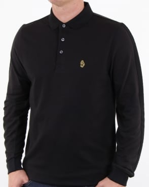 Luke Pinsent Long Sleeve Polo Shirt Black