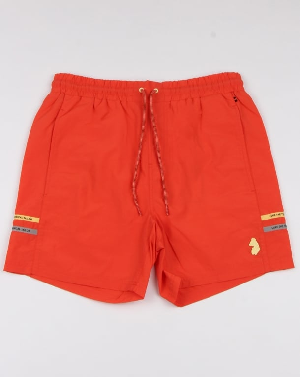 Luke Ragy Thigh Length Swim Shorts Coral