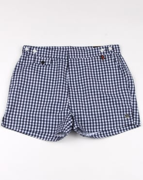 Luke Shorty Short Length Swim Shorts Navy/white Gingham