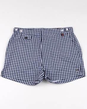 Luke Shorty Short Length Swim Shorts Navy/white Gingham