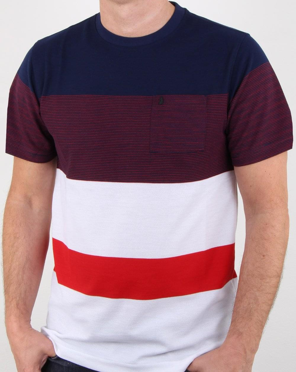 Luke Toto Stripe T Shirt Navy, Mens, Tee, Crew Neck, Lion, Pocket