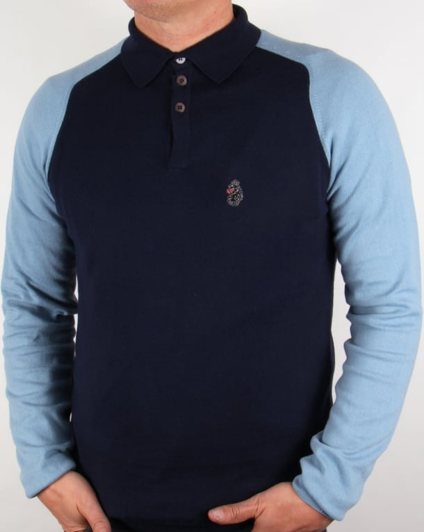 Luke Two Tone Knitted Polo Shirt Navy-Sky